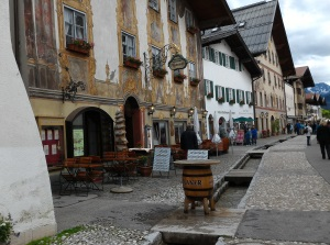 Admiring the frescoed buildings in Mittenwald, Germany