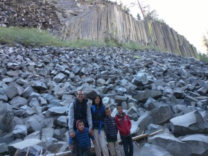 Below the tall lava columns of Devil's Postpile, California, U.S.A.